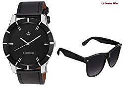 LimeStone Black Wolf Round Casual Analog Synthetic Leather Strap & Black Dial Men's / Boy's Wrist Watch with Aviator Sunglass - LS2608+007