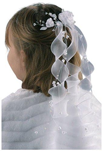Haargesteck Perlen Blumen Organzabänder Kommunion Locken F6-a