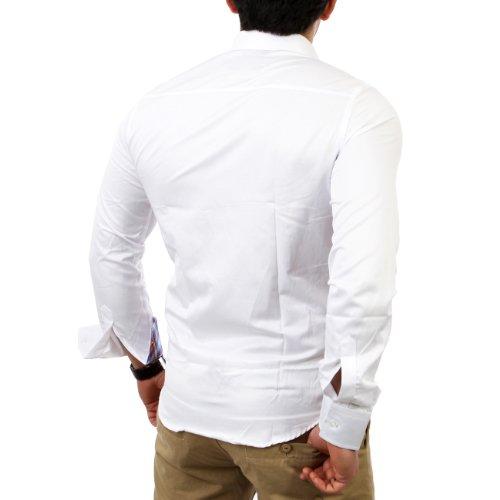 Reslad Herren Freizeithemd Hemd RS-14009 Weiß