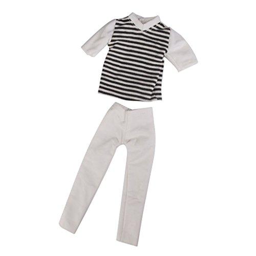 Streifen Kurzhuelse T Shirt Und Hose Laessige Kleidung Fuer Barbie Ken Puppe