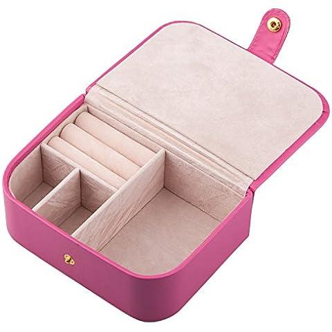 TRIXES Valigetta piccola da viaggio porta gioielli in finta pelle rosa