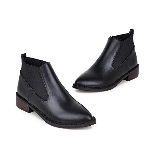 AllhqFashion Damen Spitz Zehe Gemischte Farbe Niedrig-Spitze Niedriger Absatz Stiefel Schwarz