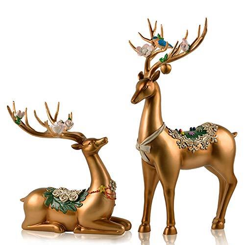 LRRWRQ Decoracion Figuras Creativas de Ciervos de Estilo Europeo Decoración del hogar Sala de Estar Escultura Vino TV Gabinete Ornamento Artesanías Estatuas de Animales, Oro