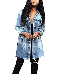 add84dec72dd9 Mengyu Chaqueta Rota para Mujer Boyfriend Vaqueros Abrigo Jacket