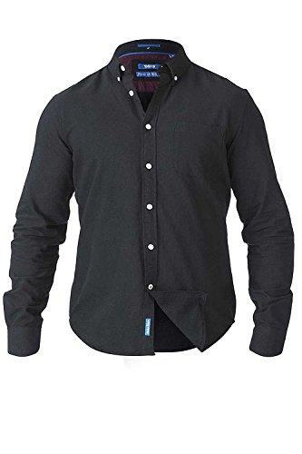 Duke D555 Herren King Größe groß hoch langärmlig klassisch Oxfordhemd geknöpft Kragen - Schwarz, XXL (Hemd Kragen-größe)