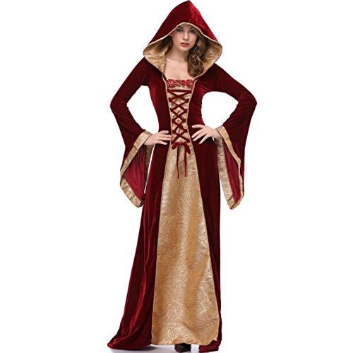 Lomelomme Halloween Halloween Kostüm Kleid Damen Rot Sexy Umhang Mantel mit Kapuze Lange Ärmel Kleid Cosplay - Kostüm Mit Rotem Mantel