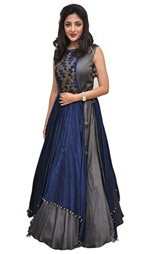 Banglory Silk Plain Work Grey Semi Stitched Floor Length Anarkali Dress