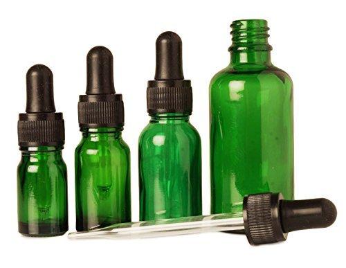 6 pcs bouteilles d'abandon de pipettes de sérum rechargeable gros vert œil de verre flacons compte-gouttes aromathérapie huiles essentielles 5 ml bouteilles vides