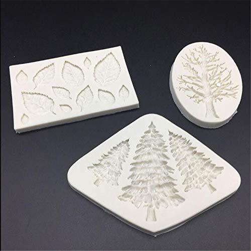 3 x Silikon-Form mit Weihnachtsbaum-Blättern, zum Basteln, für Fondant, Kuchendekoration, Cupcake-Dekoration, für Süßigkeiten, Cupcakes, Schokolade, Gumpaste Backformen, Cupcake-Topper, Ton, Seife Maker