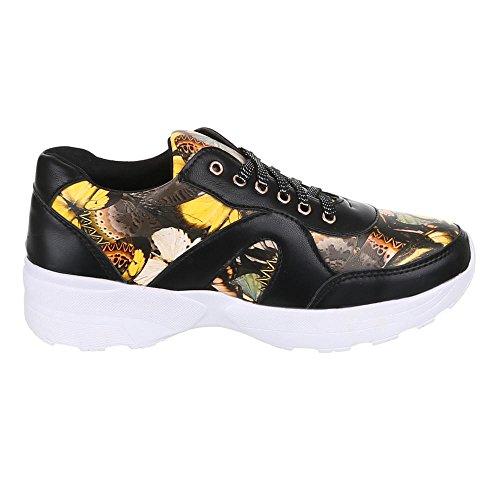 Damen Schuhe, FC15-T03A, Freizeitschuhe SNEAKERS TURNSCHUHE Schwarz Multi