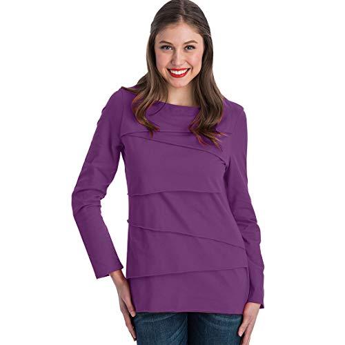 Neon Buddha Damen Women's Loose Fitting Long Sleeve Boatneck Top Sweatshirt, Summer Plum, X-Klein -