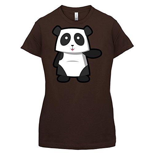 Cute Panda - Damen T-Shirt - 14 Farben Dunkles Schokobraun