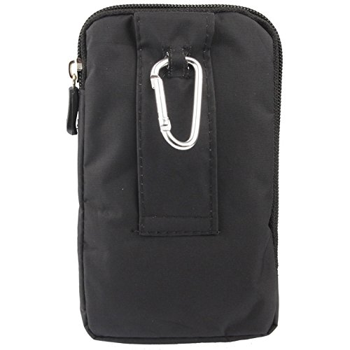 "DFV mobile - Multi-functional Vertical Stripes Pouch Bag Case Zipper Closing Carabiner for =>      APPLE iPhone 6s / [4,7""] > Black (16 x 9.5 cm) Black (16 x 9.5 cm)"
