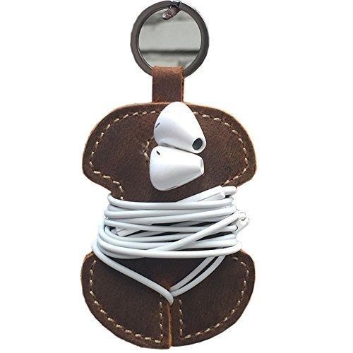 Echtes Leder handgefertigt Kabel Clips Schnur Organizer Halter Headset Bindekordeln Kopfhörer Wrap Winder Kabelmanager gjb11 -