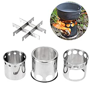 Outgeek Camping Stove Stainless Steel Portable Wood Burning Stove Backpacking Stove