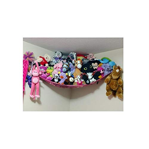 Huijukon große Hängematte für Spielzeug, aus Netzstoff, für weiche Stofftiere, Teddys (182,9x 121,9x 121,9cm) rose