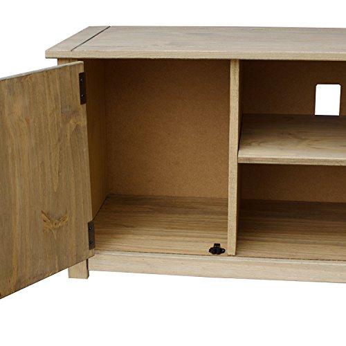 Vida Designs Panama Solid Pine Entertainment Furniture 2-Door 1-Shelf Flat Screen TV Unit, Wood, Natural