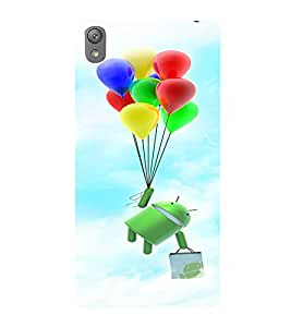 Printvisa Cartoon Hanging On Multicoloured Baloons Back Case Cover for Sony Xperia E5