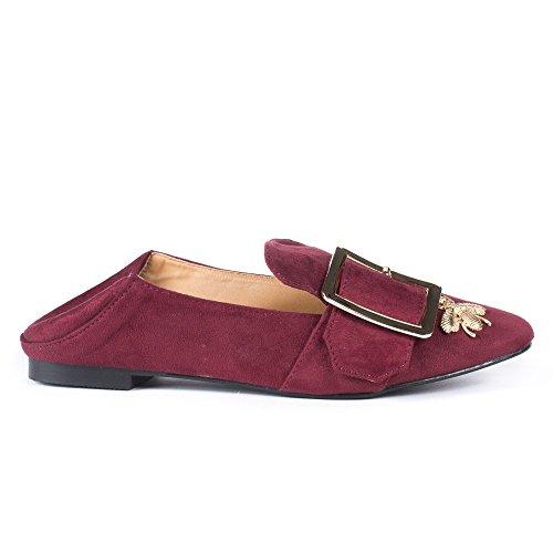 Ideal Shoes Slippers Effet Daim avec Strass et Clous Fadina Bordeaux