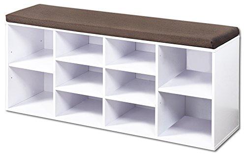 garderobe hocker KESPER Schuhschrank mit Sitzkissen, weiß, Modell 2018 in nachhaltiger FSC-Ausführung, Maße: B 103,5 x H 48 cm x T 29,5 cm