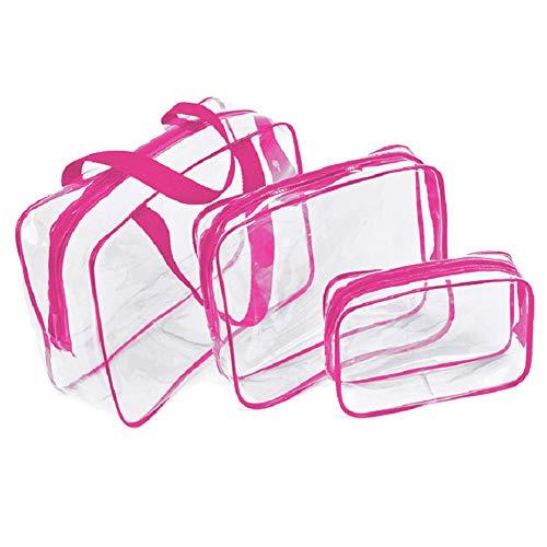 Toilettenartikelbeutel Set, 3 Stück Durchsichtig Wasserfest Kosmetiktasche, Make-Up Sortiertasche, Transparent PVC mit Reißverschluss Toilettenartikel Portabel Tasche für Reise/Ordner -