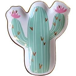 Bandeja de cerámica versátil para collares, pendientes, pulseras, organizador de 5 anillos de cactus