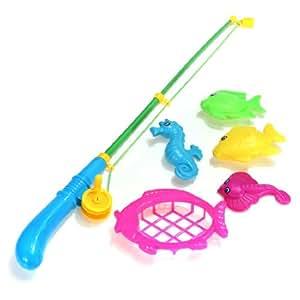 Jeu Vif Pêche à la Ligne KIT 6 en 1 (4 Poissons,1 Canne,1 Epuisette) pr Enfant
