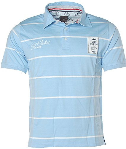 Kitaro Herren Kurzarm Shirt Poloshirt Polokragen Streifen Global Route Blau