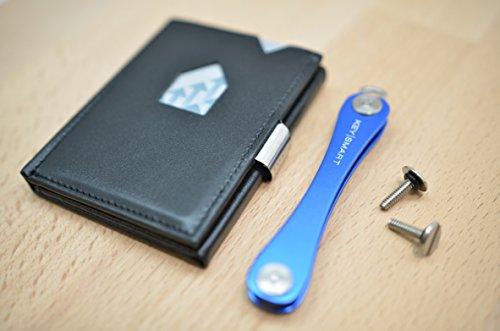 2Bundle composto da il EXENTRI Wallet in pelle nero e un keysm Art Extended 2.1nel colore blu