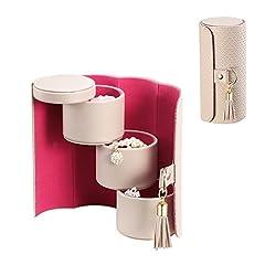 Idea Regalo - Vlando piccolo portatile da viaggio per gioielli scatola portagioie per collane orecchini spille di regalo di compleanno party Gift, Grigio