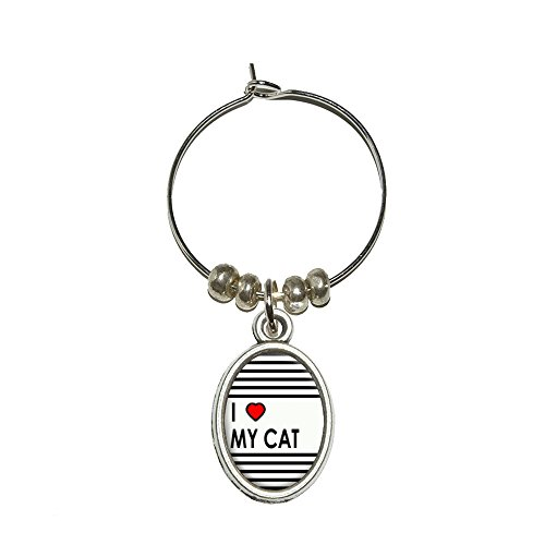 I love Herz My Cat Wein Glas Oval Charm Drink Marker (Wein Cat Charms Glas)