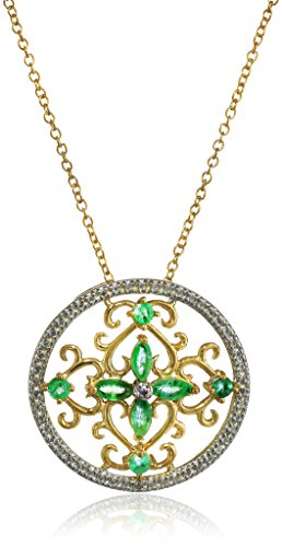 Amazon Yellow Gold-Plated Sterling Silver Emerald and Diamond Pendant Necklace 18