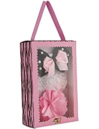 bebda1391ee Babies Bloom Sheer Printed Satin Ribbon Bow and Elastic Flower Headband Set  for Girls