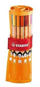 Stabilo 8825-034 - Tintenfeinschreiber point 88 25-er Rollerset Eurasia Collection, orange