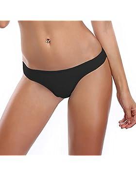 MissTalk Brasileño Tangas Bikini Indumentaria Traje De Baño para Femenino (M, Negro)