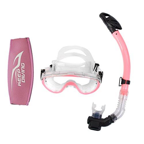 e9eb62c54ccb2 Gazechimp Schnorchelset: Taucherbrille + Trockenschnorchel - Set mit  Neopren Maskenband, Tauchmaskenband - Rosa