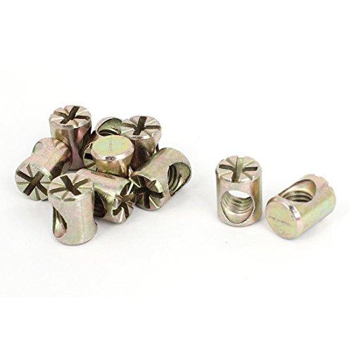 Moebel Mutter - SODIAL(R) Moebel M8 x 15mm Pozidriv mit Schlitz Zylindermutter Bronzeton 10 Stueck