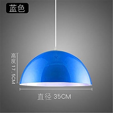 XUE Einfache moderne Ein-Kopf-Kronleuchter kreative Persönlichkeit Restaurant Büro Salon Shop Farbe Topf Deckel kreisförmigen Kronleuchter, blau 18 * 35cm