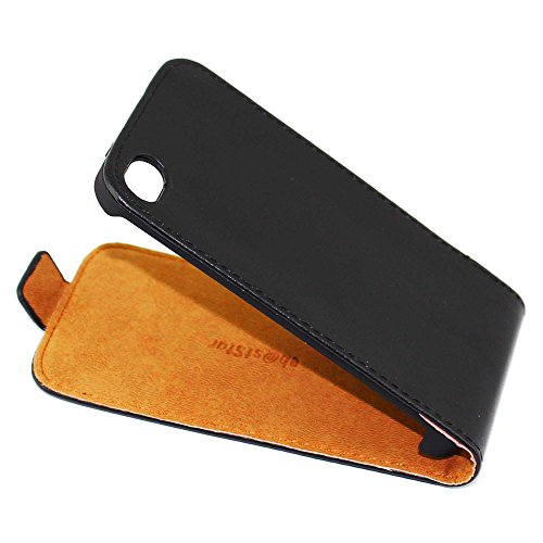 ebestStar - Compatible Coque iPhone 4, 4S Apple Etui Housse PU Cuir Rabat Ultra Fin (Ultra Slim Case), Noir [Appareil: 115.2 x 58.6 x 9.3mm, 3.5'']