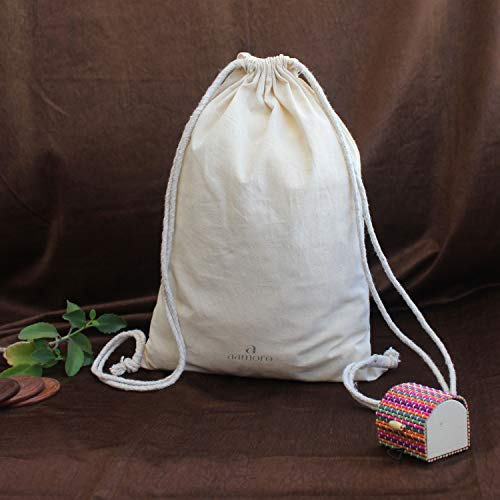 Aamoro Unisex Beige Plain Organic Unbleached Cotton Drawstring Backpack Image 5