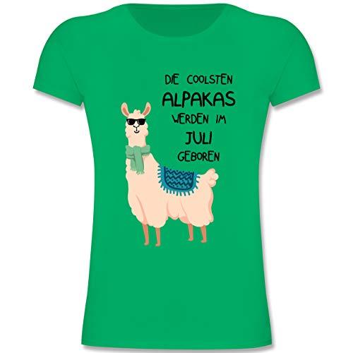 Geburtstag Kind - Die coolsten Alpakas Werden im Juli geboren Sonnenbrille - 152 (12-13 Jahre) - Grün - F131K - Mädchen Kinder T-Shirt