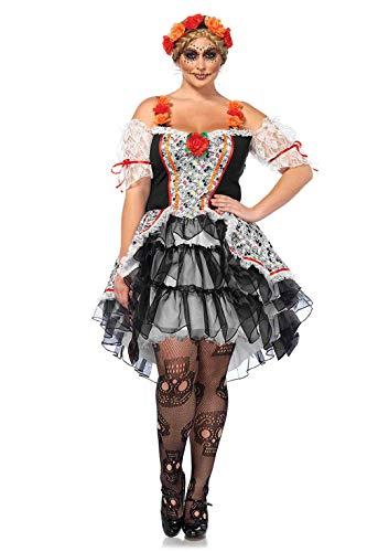LEG AVENUE 85557X - Sugar Skull Kostüm-Set, Damen Fasching, 3X-4X, Mehrfarbig