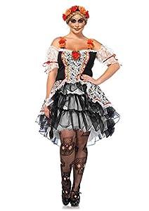Leg Avenue- X Multi-Colour Sugar Skull Senorita Fancy Dress Costume (3X-Large-4X-Large/UK 24-28, 2-Piece) Mujer,, Talla Plus 3X/4X (EUR 52-56) (85557X)