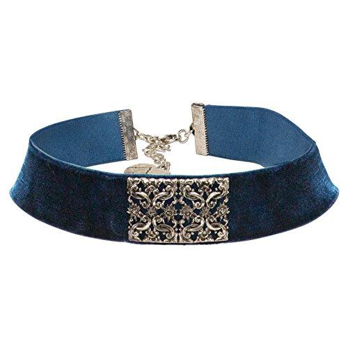Alpenflüstern Trachten-Samt-Kropfband Ornament-Edelweiß Trachtenkette enganliegend, Kropfkette elastisch,...