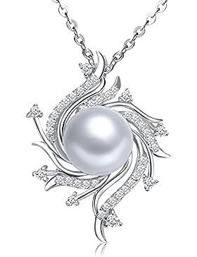 Silber Kette Halskette mit Perle Anhänger, Österreichische Kristallen, Damen-Anhänger Classic Collection 10 mm...