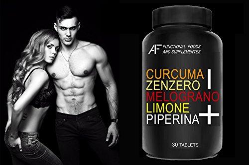 CZMLP+ A.I.F. (30 CPR) CURCUMA-ZENZERO-MELOGRANO-LIMONE-PIPERINA il BRUCIAGRASSI SNELLENTE con i 5 + POTENTI PRINCIPI ATTIVI!!! Prodotto 100% Naturale - ITALIANO