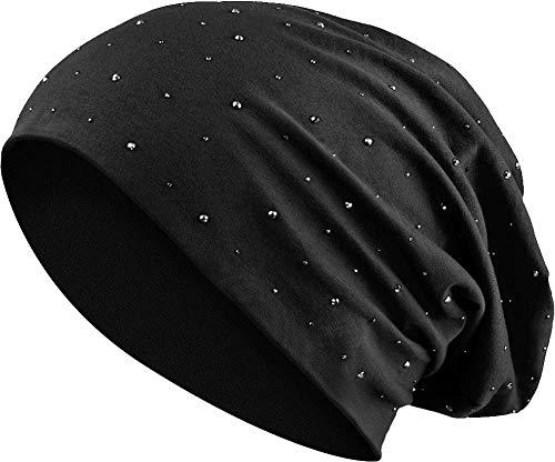 Balinco Jersey Baumwolle elastisches Long Slouch Beanie Unisex Herren Damen mit Strass Stern Steinen Mütze Heather in 35 (7) (Black)