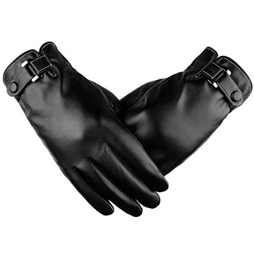 Axiba Herren Echtleder Taste Handgelenk Winter warme Fleece Futter Handschuhe -
