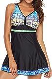 EUDOLAH Damen Tankini Badekleid Strandkleid Swimwear Badehose Retro Paisley Figurformend V-Ausschnitt Groß Größe M-5XL Schwarz Gr. 2XL