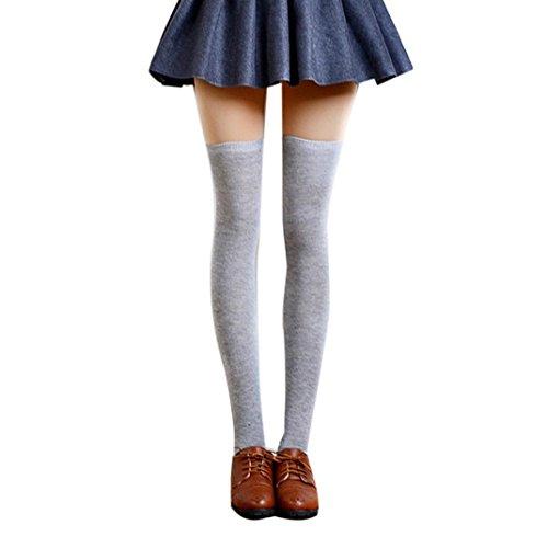 Strümpfe Damen URSING 1 Paar Frauen Winter Overknee Lange Kniestrümpfe Retro Schüler Überknie Strick Socken über Knie-Lange Baumwollstrümpfe Strumpfhose Stockings Pantyhose (Hellgrau)
